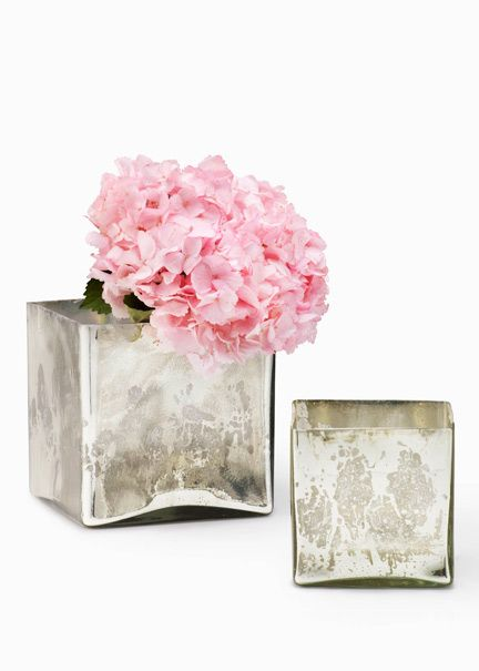 Silver Mercury Glass Square Vases For Vintage Wedding Centerpieces