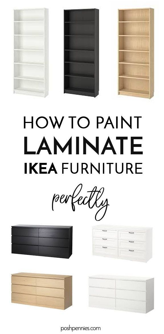 Learn how to paint all the IKEA furnitures! Laminate, metal and solid wood, this guide's got ya covered. Don't make amateur mistakes, get a pro-like finish and impress all your buddies! #ikeapainting #ikeahack #ikealaminate #billyhack #malm #furniturepainting