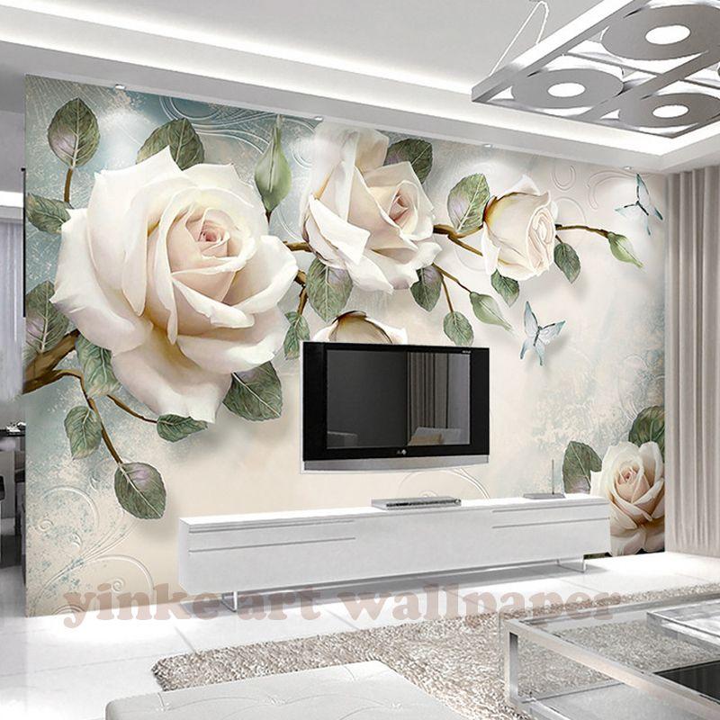 Barato Pintura 3d White Rose Flores Murais De Parede Personalizado
