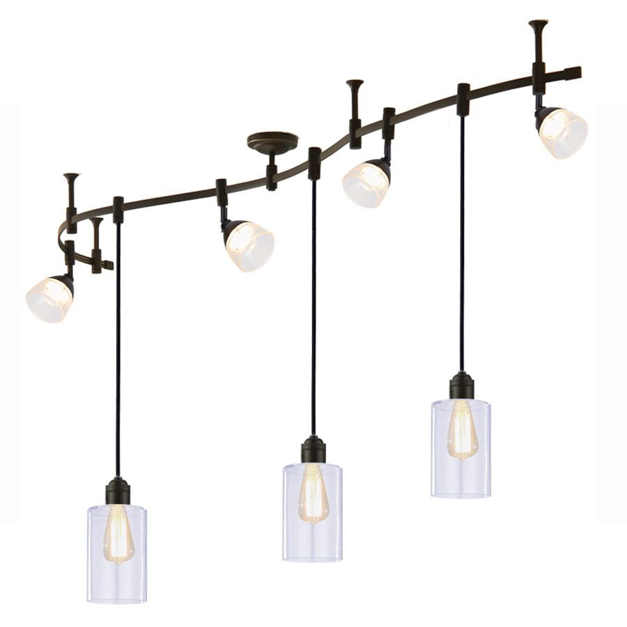 Allen roth 7 light 995 in bronze dimmable led flexible track allen roth 7 light 995 in bronze dimmable led flexible track light with clear seeded glass aloadofball Gallery