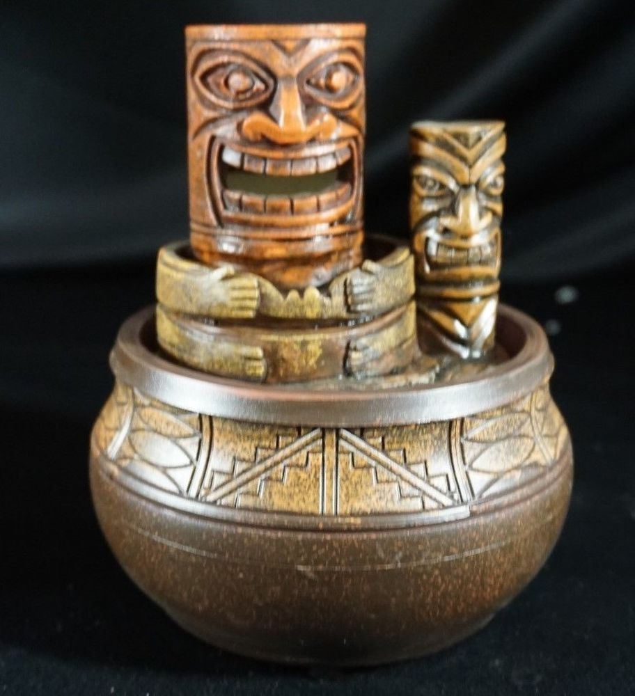 Tiki Light Fountain Battery Operated Table Top Candle Hawaiian Totem ...