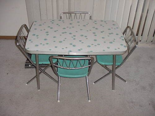 Vintage Childrens Formica Kitchen Table Set W 4 Star Brite Folding Chairs Ebay
