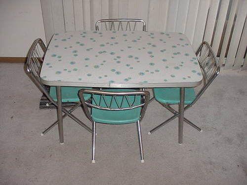 Vintage Childrens Formica Kitchen Table Set W 4 Star Brite Folding