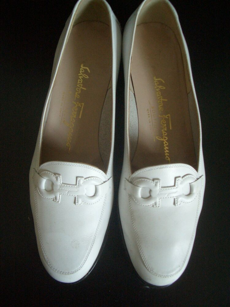 870982c2e338 Retro VINTAGE SALVATORE FERRAGAMO womens leather loafer shoes white size 6   fashion  clothing  shoes  accessories  womensshoes  heels (ebay link)
