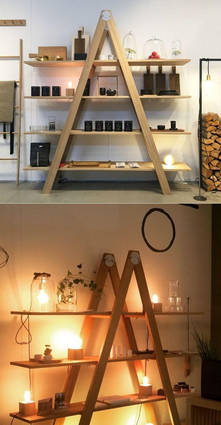Rustic ladder shelf by raumgestalt to showcase at maison u objet