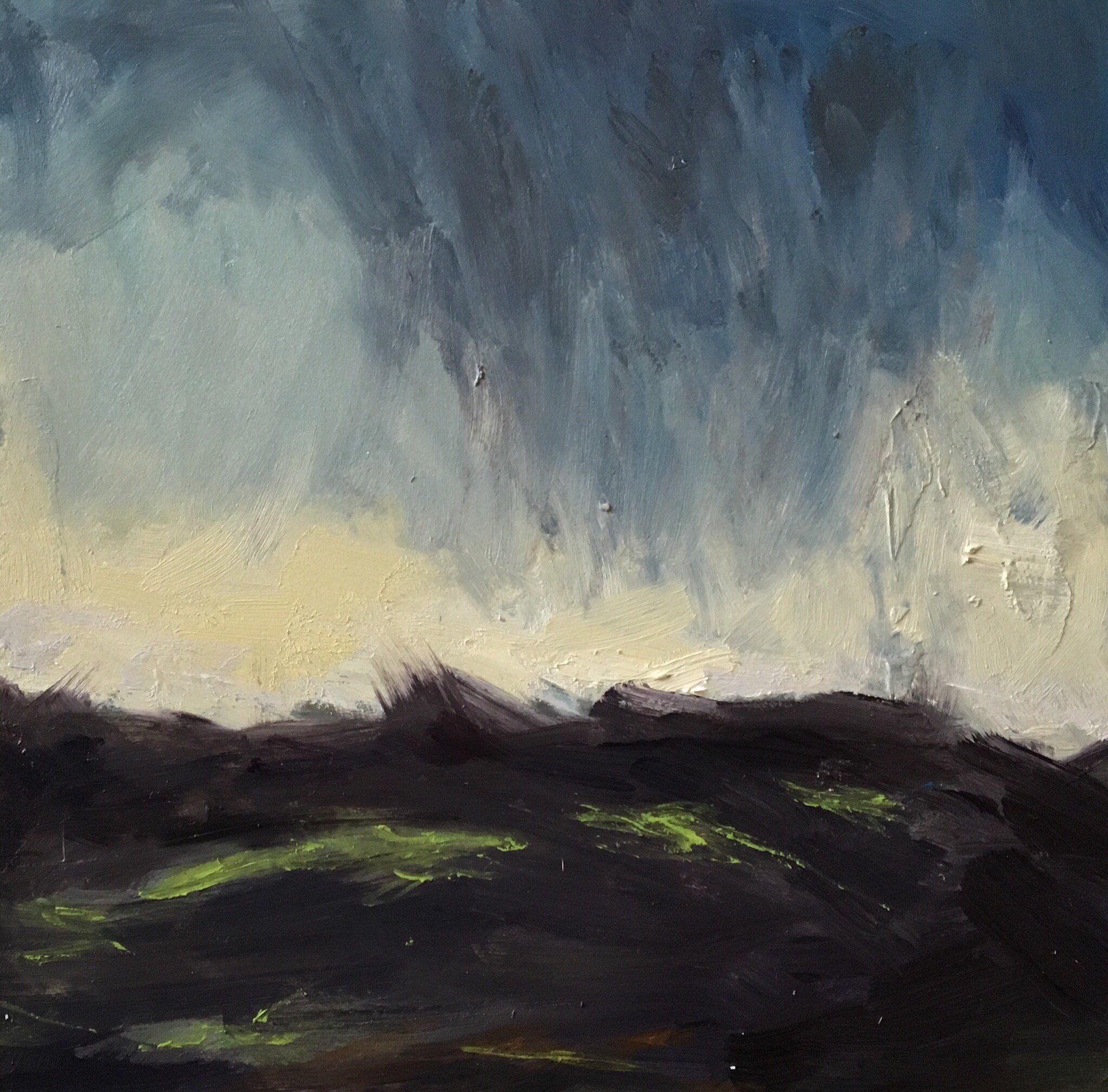 Small Original Abstract Landscape Oil Painting Impressionist Clouds Green Fields Grey Blue Stormy Rain Sky Unframed Wall Art 6x6 Inches Abstract Landscape Oil Painting Landscape Unframed Wall Art