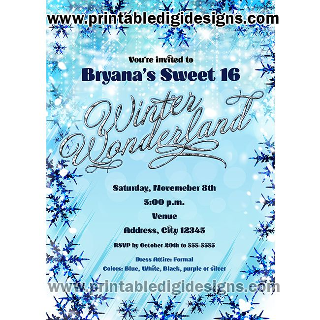 winter wonderland snow holiday snowflakes party invitation party