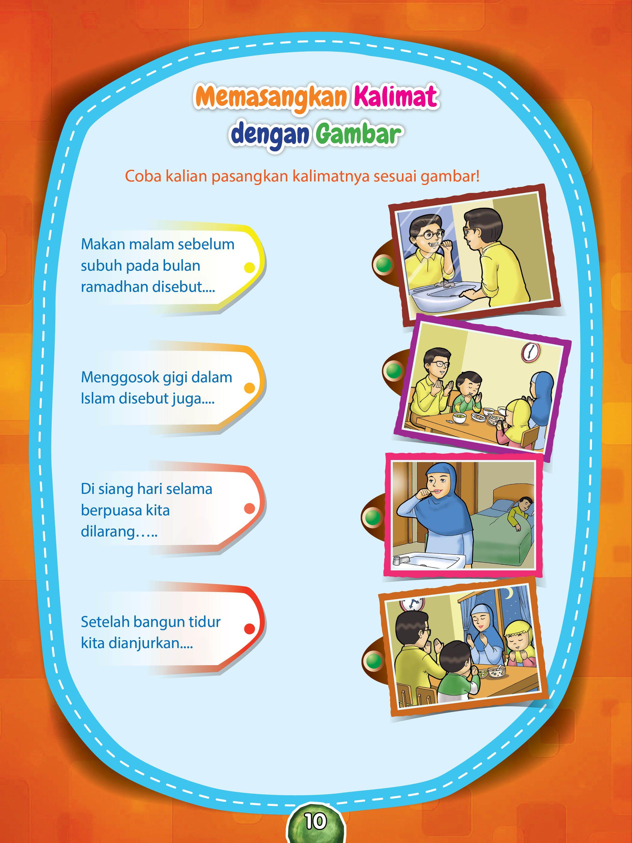 Memasangkan Kalimat Sesuai Gambar Pendidikan Buku Anak Pendidikan Anak Usia Dini