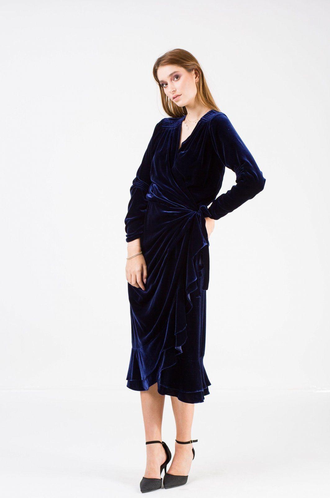 Sukienka Velvet Wrap Welurowa Granatowa Aksamit E Garderobe Long Sleeve Dress Dresses Fashion