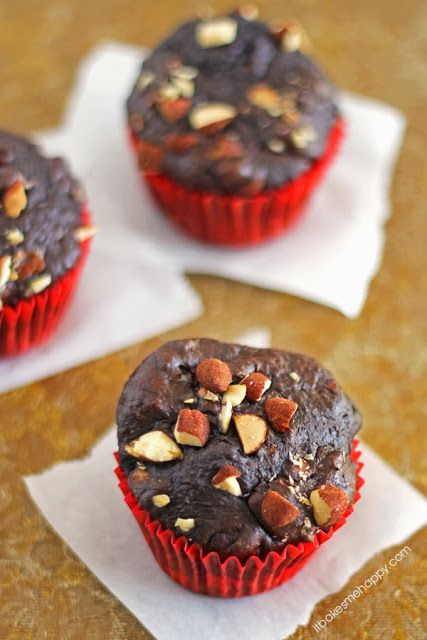It Bakes Me Happy: Chocolate Almond Muffins