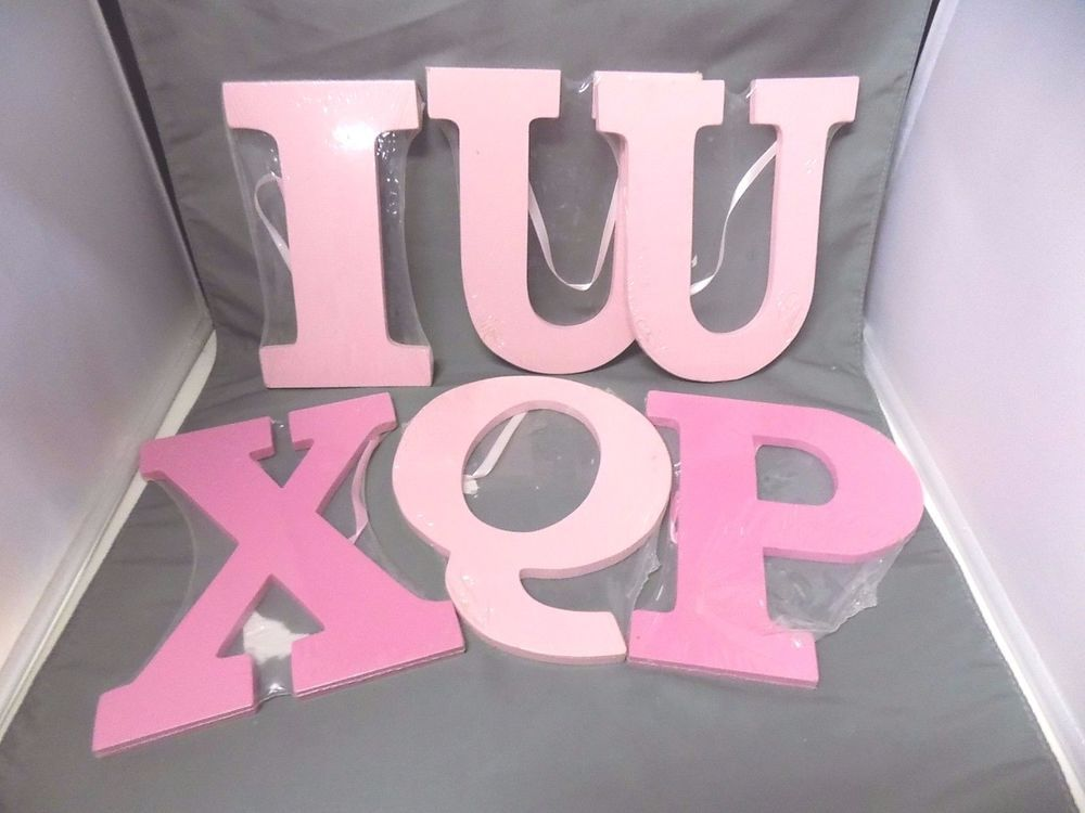 "Set of 6 Wooden Letters All Pink Q P x U U I 8"" Tall with Ribbon | eBay"