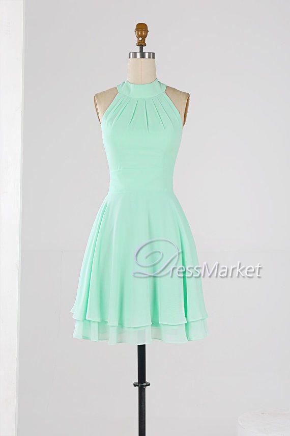 Mint green high coller homecoming dress,Knee length sleevesless ...
