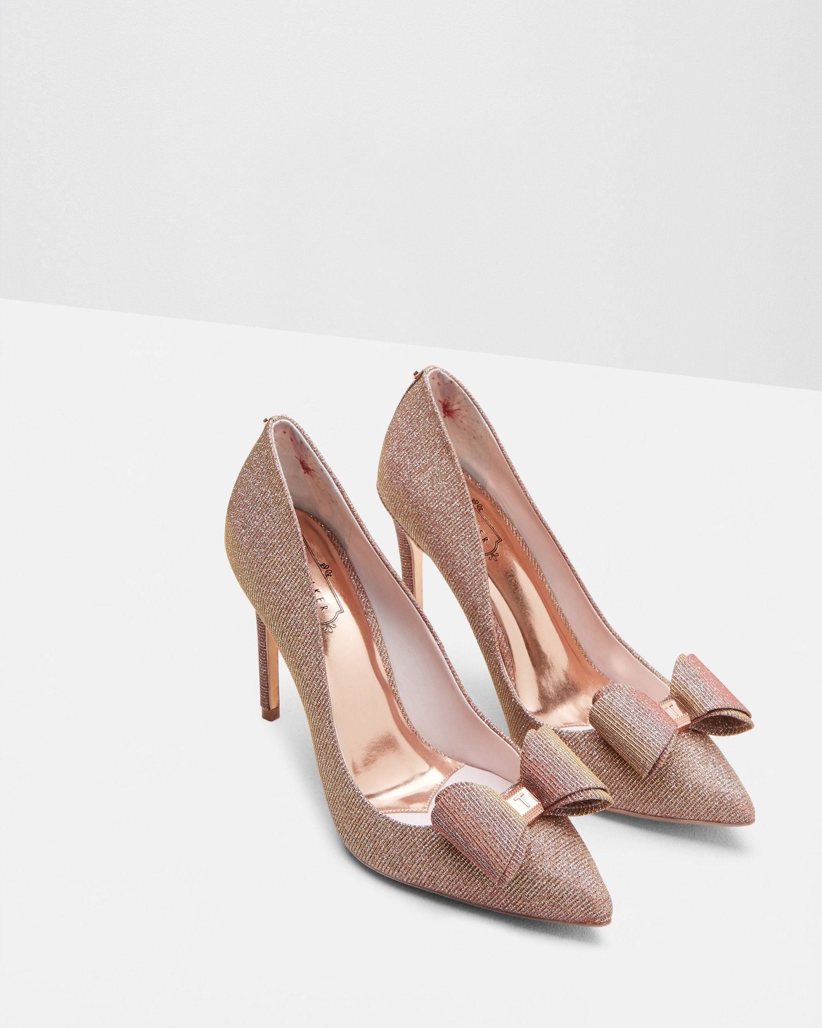 Bow Detail Courts Rose Gold Shoes Ted Baker Dress Shoes Womens Rose Gold Shoes Ted Baker Shoes