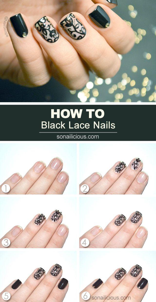 Black Lace Nail Art Tutorial In 2018 Nails Pinterest Lace Nail