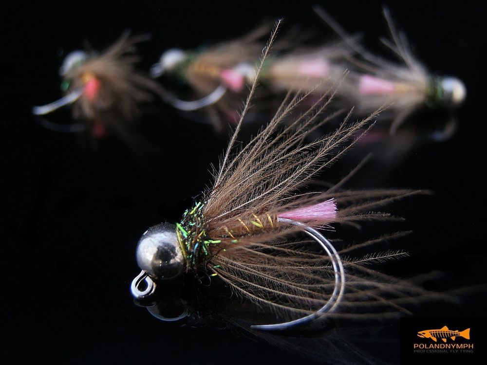 Tungsten Hot Spot Hare/'s Ear Jig Head Fly Hanak Hooks Euro nymph 6 Flies