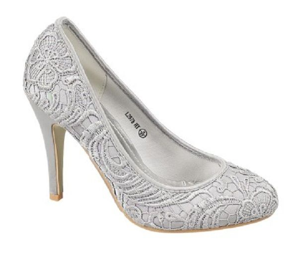 Silver Lace Mother of The Bride Shoes