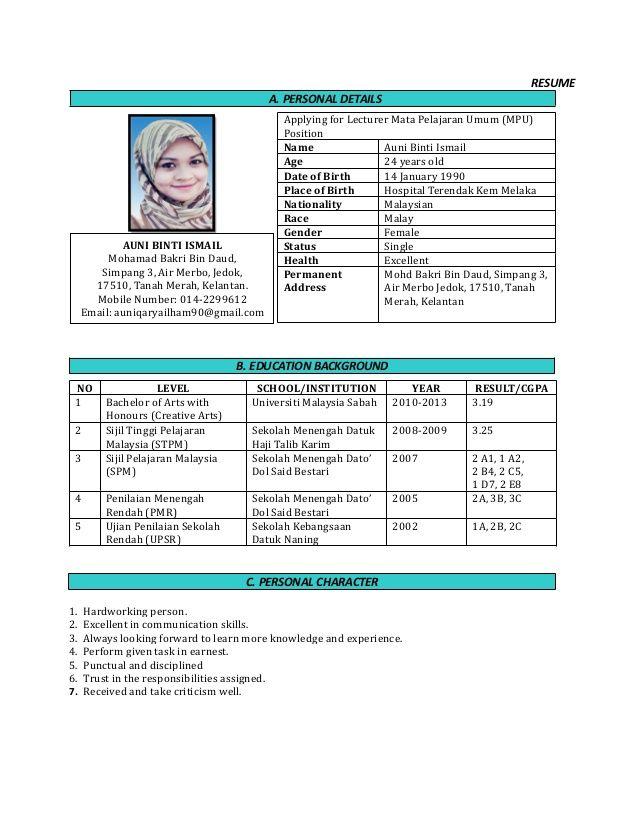 Format Resume Yang Betul In 2021 Resume Cover Letter For Resume Job Resume Template