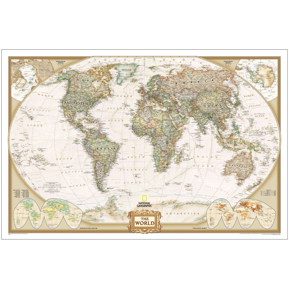 World Political Map (Earth-toned), Enlarged and Laminated | National Geographic Store
