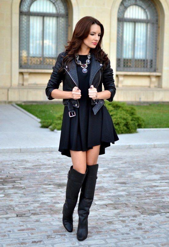 fef33db6 botas rodillas vestidos faldas outfits   Ropa de inbierno   Vestido ...