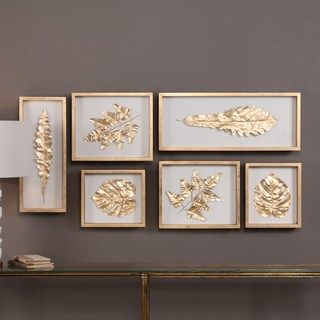 Gold Finish Leaves Shadow Box Wall Decor 6 Piece Set Kohls Frames On Wall Framed Wall Art Sets Wall Art Sets