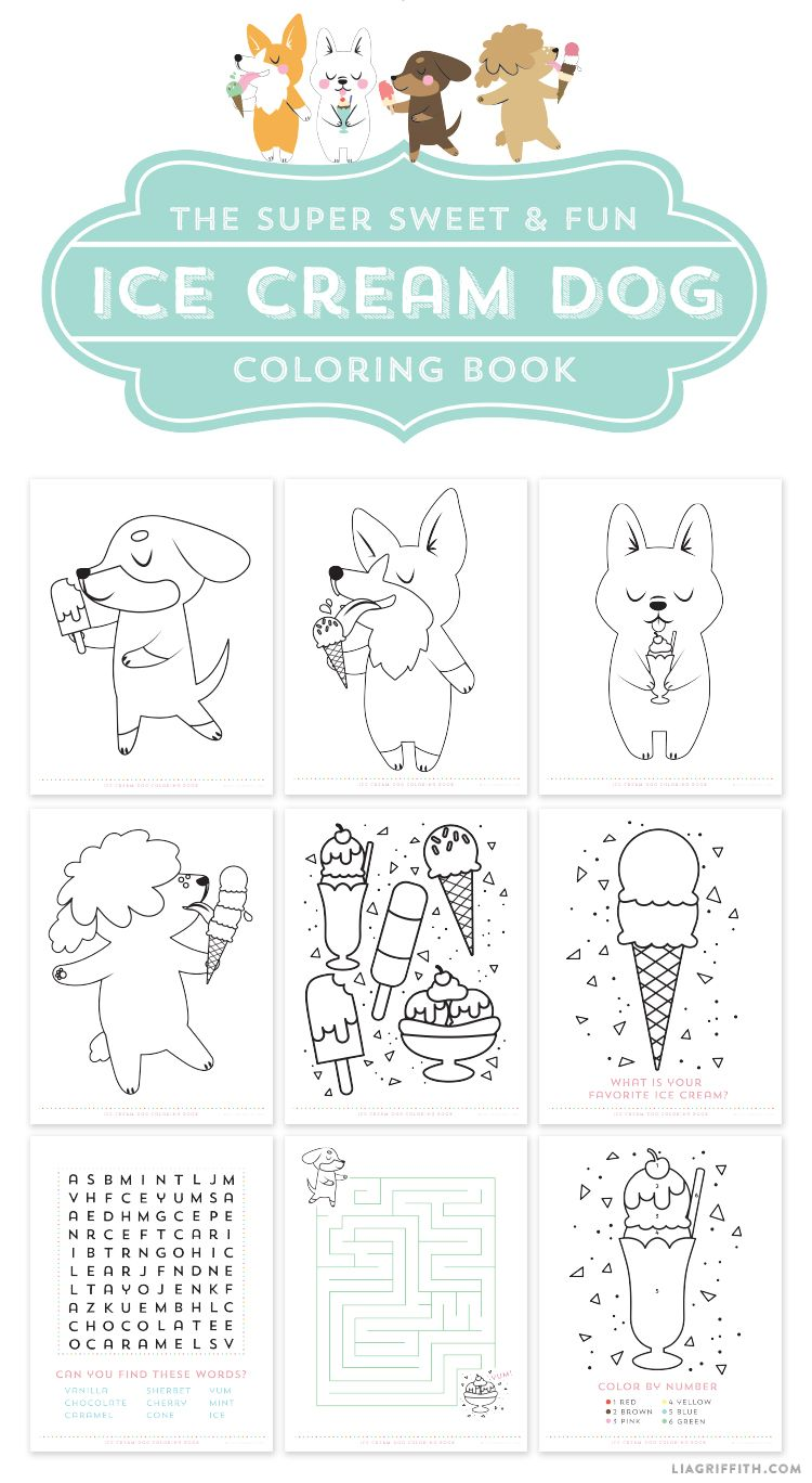 FREE Printable Ice Cream Dog Coloring Pages