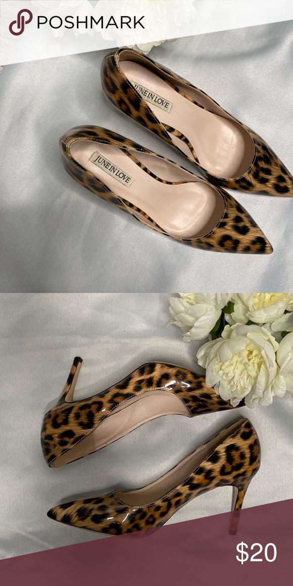 Leopard print patent heels in 2020