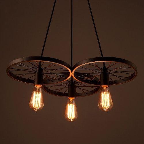 Lightinthebox® Edison Loft Retro Restaurant Bar Pendant Lights Hanging Lamps American Country Wrought Ion Chandeliers Ceiling Light Industrial Style Wheels - - Amazon.com