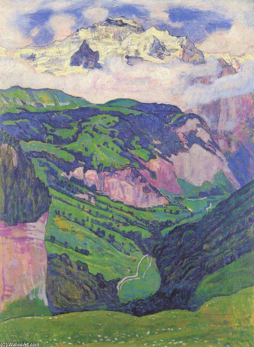 La Dame du Isenfluh, huile sur toile de Ferdinand Hodler (1853-1918, Switzerland)