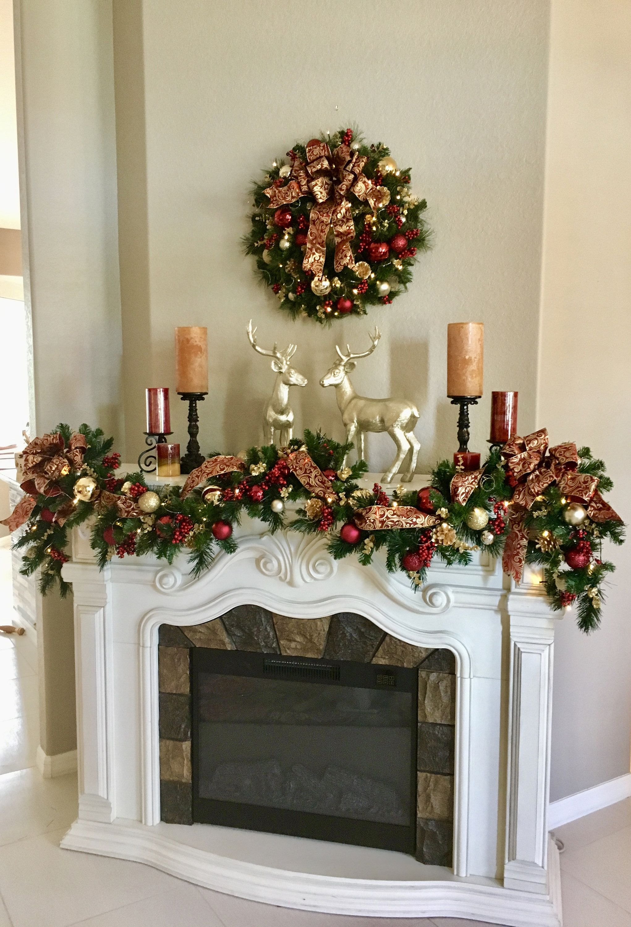 Set Of 2 Christmas Wreath And Garland Beautiful Burgundy And Gold Scroll Bows Cordless Led Light With Timer 6 Or 9 Garland 22 Wreath Christmas Wreaths Christmas Fireplace Christmas Home