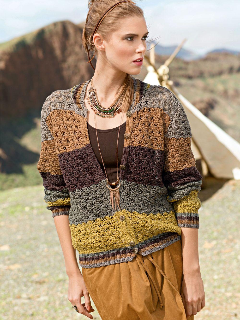 Жакет с ажурным узором с полосатыми планками - схема вязания спицами ...