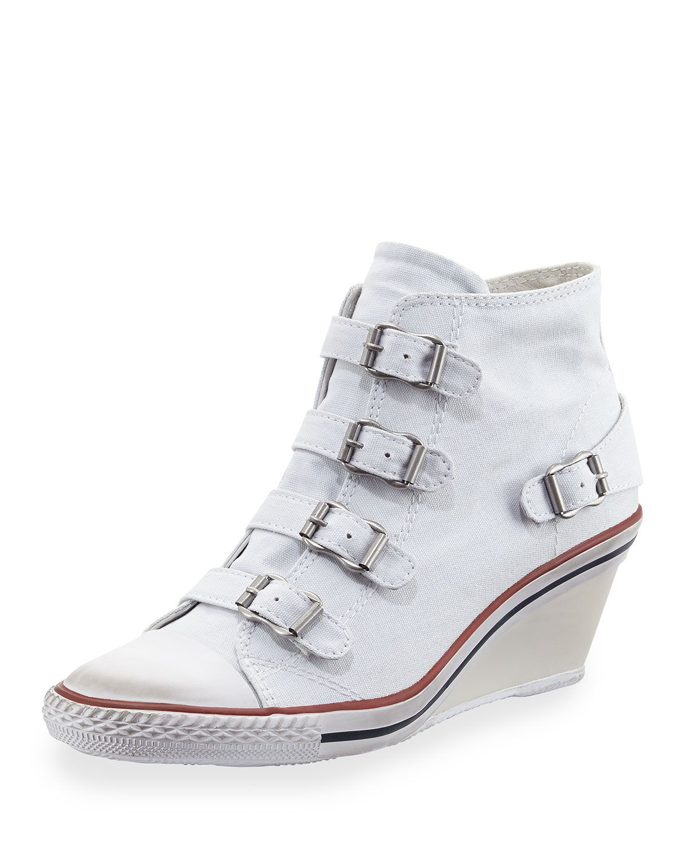 Ash Genialbis Buckled Wedge Sneaker, White, Women's, Size: 7