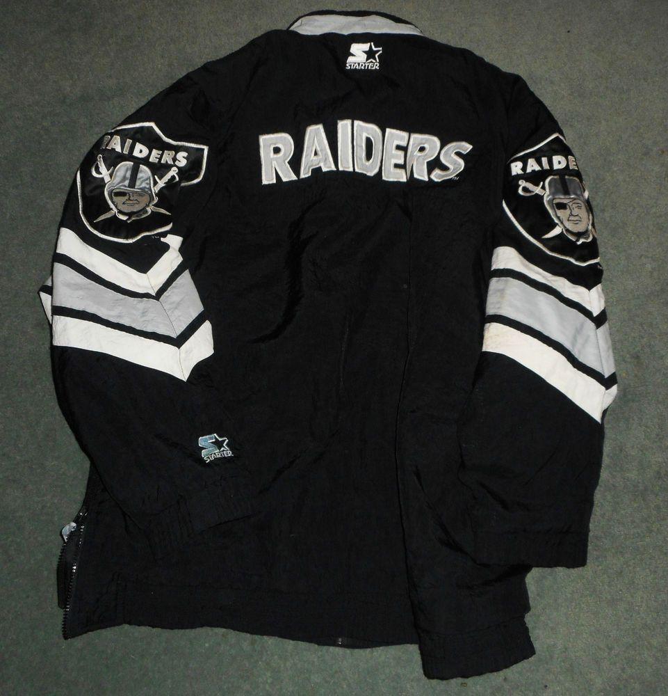 sale retailer 6d18f 7cf32 Men's Vintage Black, Silver OAKLAND RAIDERS NFL STARTER ...