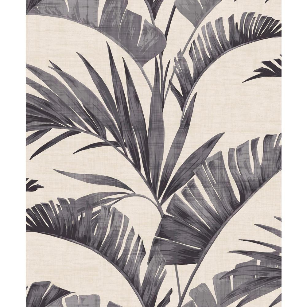 Arthouse Banana Palm Charcoal NonWoven Wallpaper, Grey