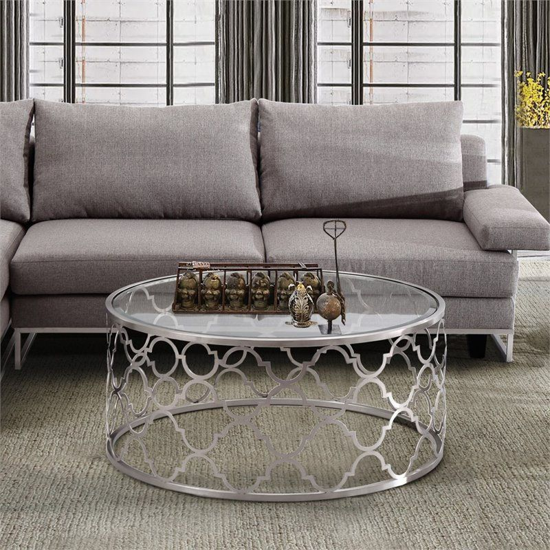 Armen Living Florence Round Glass Top Coffee Table In Brushed Silver Silver Coffee Table Coffee Table Sofa End Tables