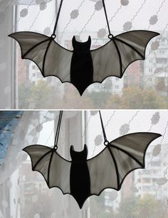 Stained Glass Bat Suncatcher Ornament