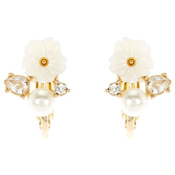 Accessorize Clip On Shell Flower Stud Earrings (£9.22) ❤ liked on Polyvore featuring jewelry, earrings, cluster stud earrings, clip on stud earrings, clip earrings, flower jewellery and seashell earrings