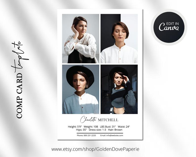 Comp Card Template Canva Template Comp Card Easy Editable Template Modeling Comp Card Template Fashion Comp Card Instant Download In 2021 Model Comp Card Card Template Branding Template
