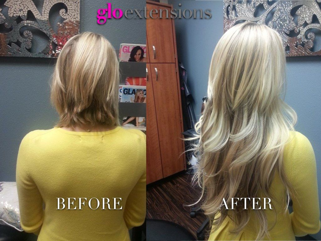 Hair Extensions Before After By Glo Extensions Denver Www