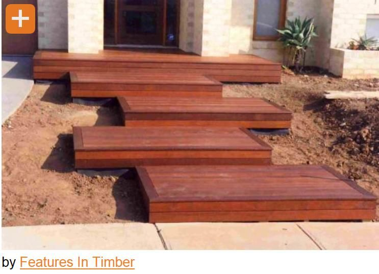 diy outdoor timber stairs. i totally adore these staggered platform stairs ;) diy outdoor timber