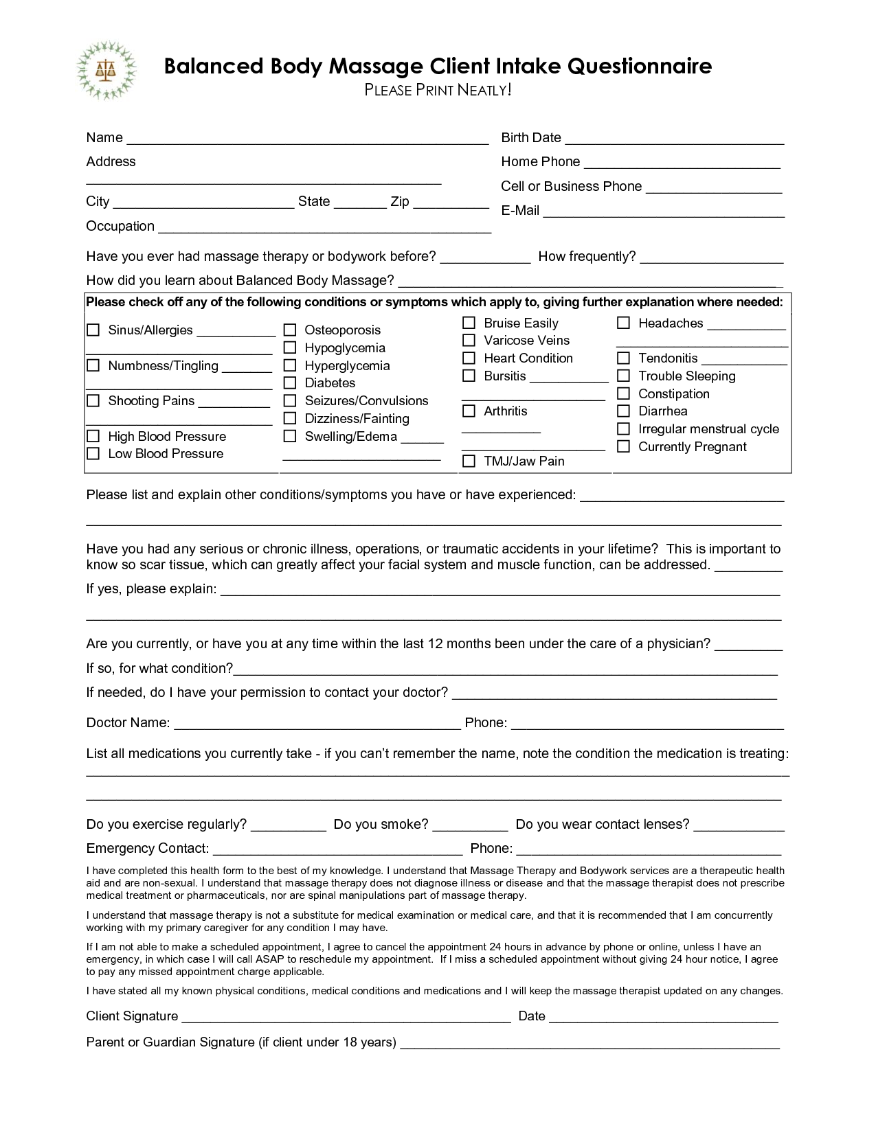 free massage intake forms balanced body massage client intake questionnaire please print. Black Bedroom Furniture Sets. Home Design Ideas