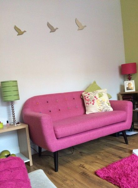 Ritchie 2 Seater Sofa, Candy Pink with Rainbow Buttons from Made.com ...