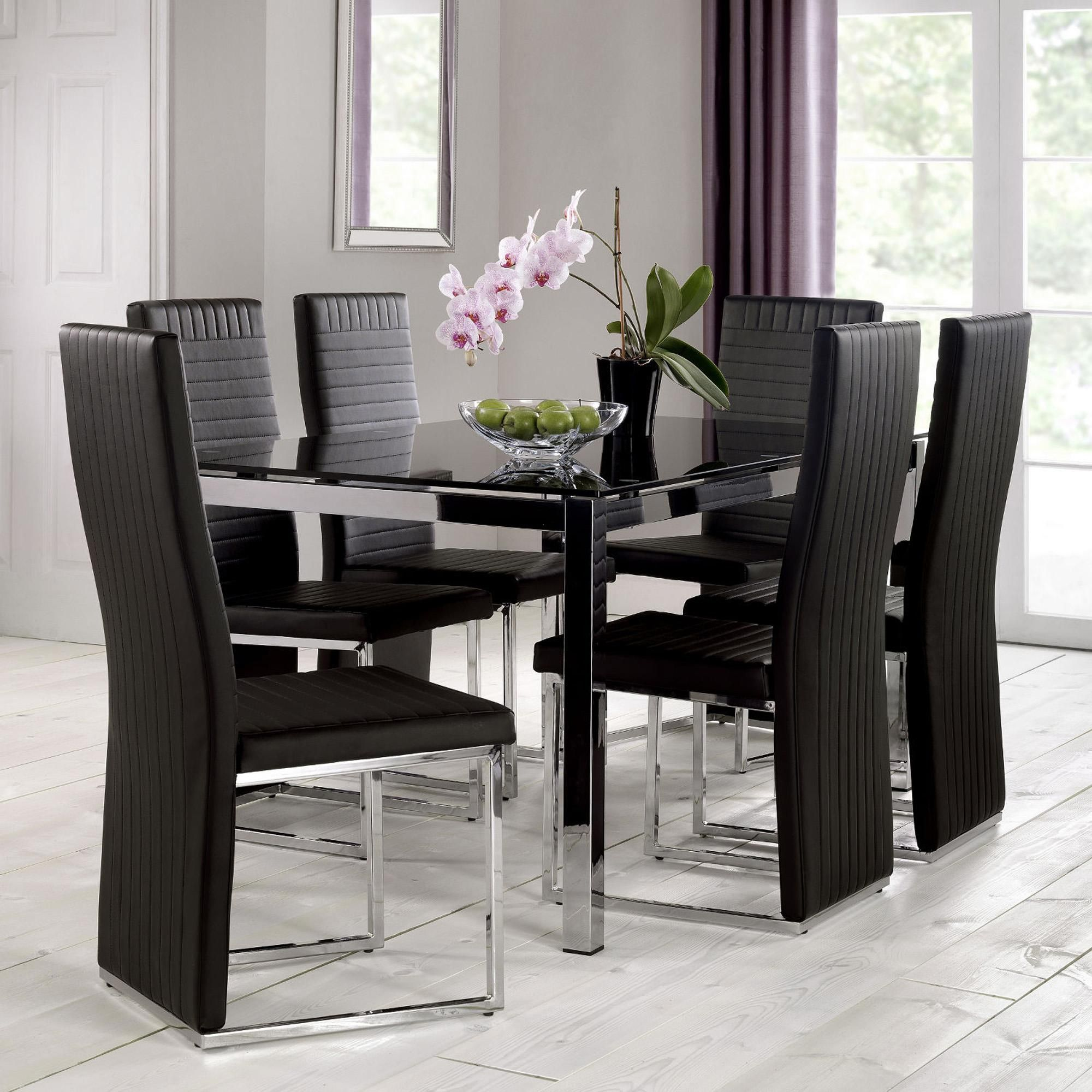 Tempo 160cm Glass Top Dining Table Black Dining Room Black Glass Dining Table Black Dining Table Set