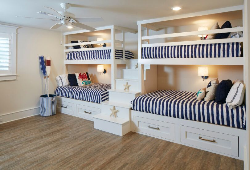 Bunks are a beach house necessity, where visitors are always abundant. Larger bottom bunks can accommodate older children or adult couples.