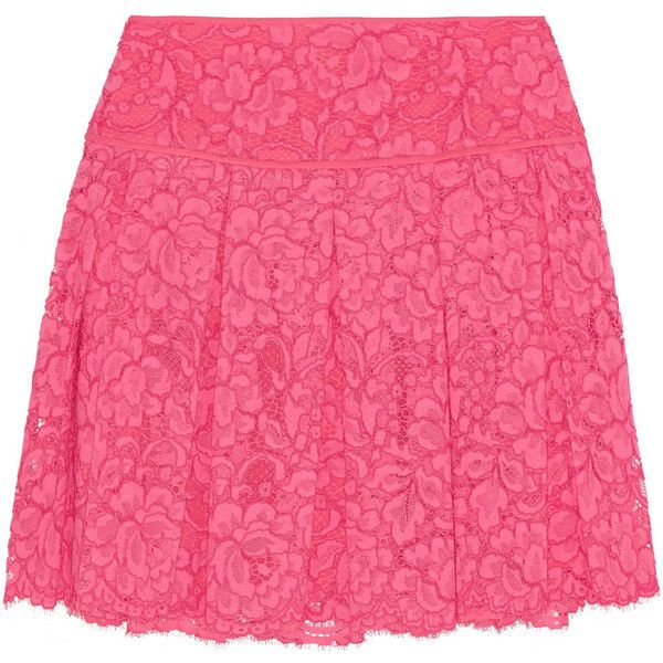 DKNY Pleated guipure lace mini skirt (408.285 COP) ❤ liked on Polyvore featuring skirts, mini skirts, bright pink, pleated skirt, pink skirt, pink lace skirt, short lace skirt and lace skirt