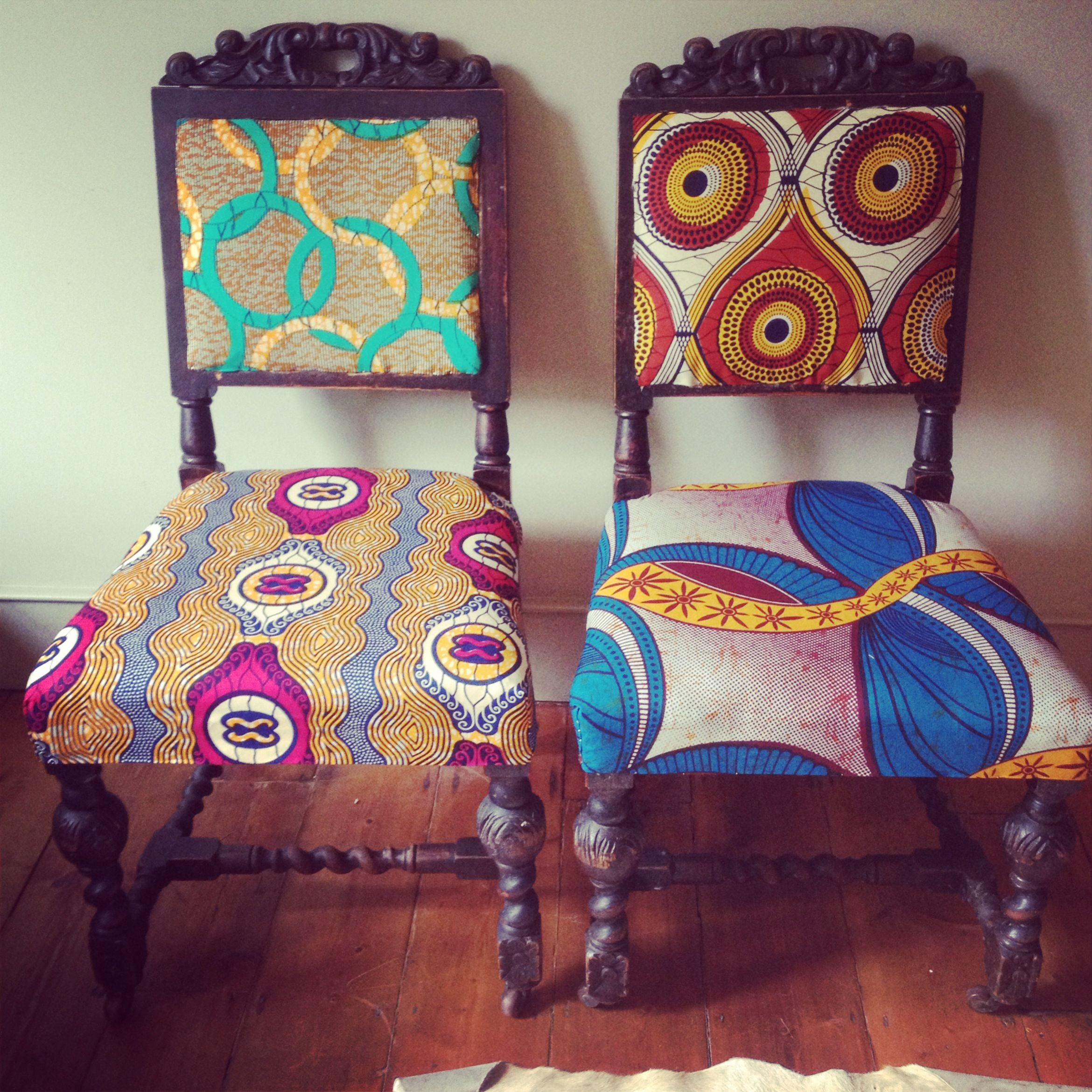 Stunning Vintage Chairs With African Fell Fabric Original