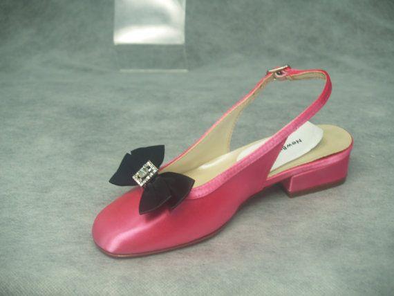 Girls shoes hot pink slingback w black bow crystals flower girls shoes hot pink black flower girls shoes many by newbrideco mightylinksfo