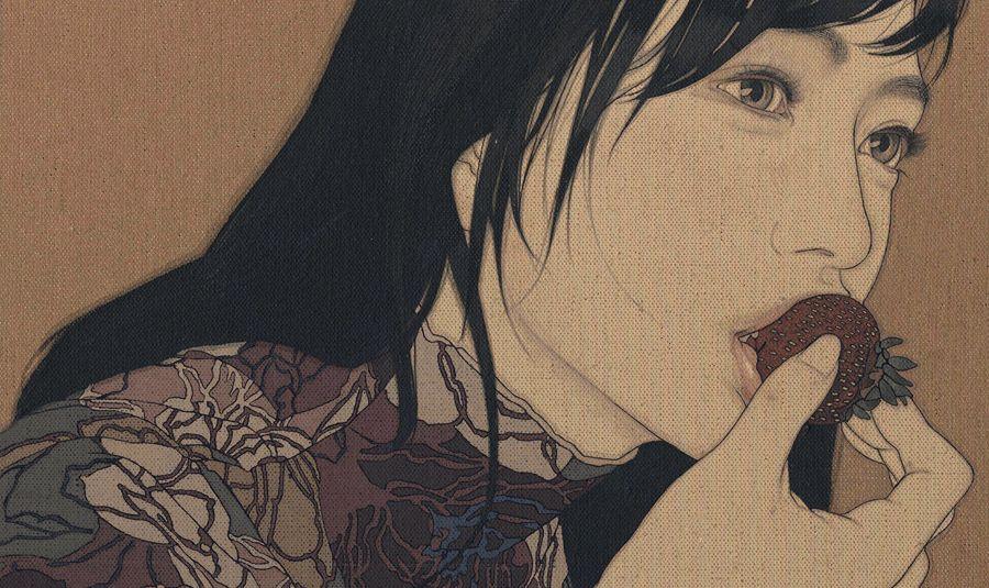 ARTIST: Yasunari Ikenaga ~ (Contemporary Japanese) (Using a Menso brush, mineral pigments, and soot ink on linen cloth, Yasunari continues the ancient tradition of Nihonga painting)