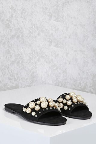 0cb124f516fa A pair of faux suede open toe slide sandals featuring a faux pearl and  high-polish stud strap design. (Inspiration)