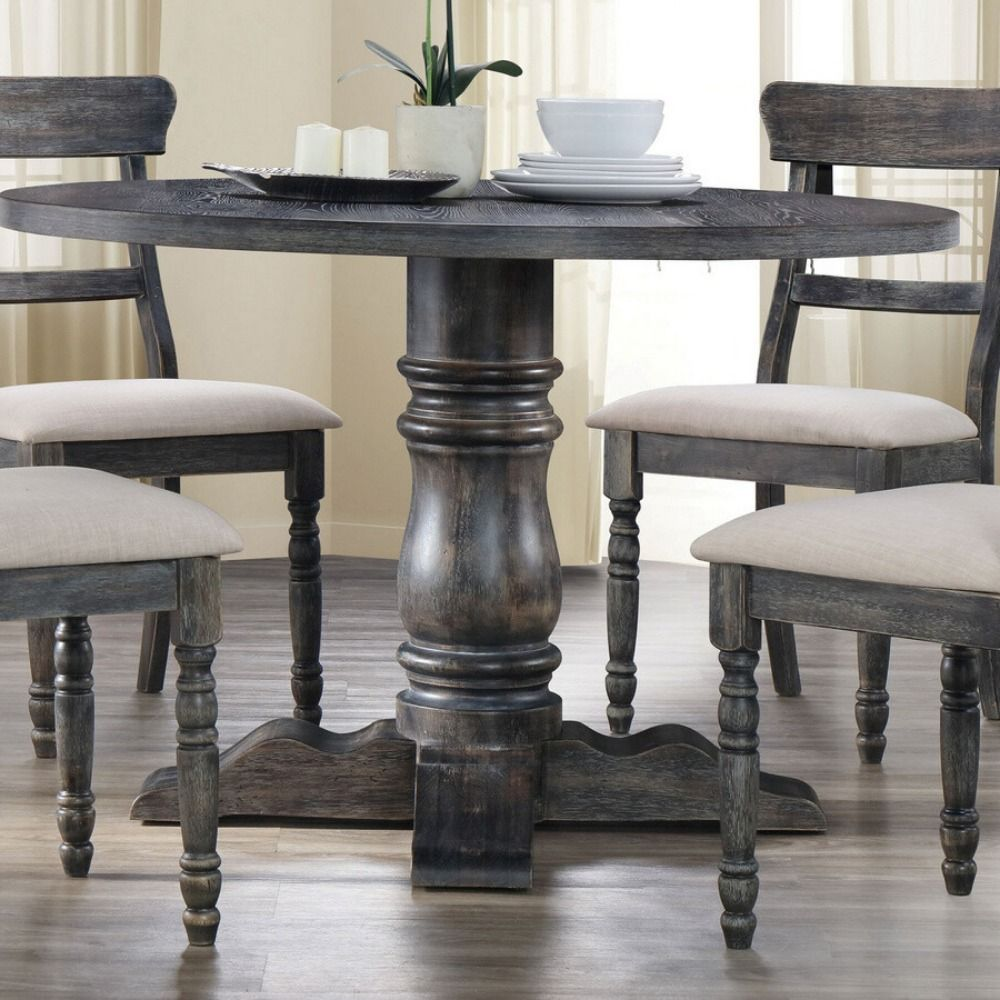 Dining Table 74640 Dimensions 47 L X 47 W X 30 H Materials Rbw Rubberwood Oak Veneer Md Grey Round Dining Table Grey Dining Tables Round Dining Table