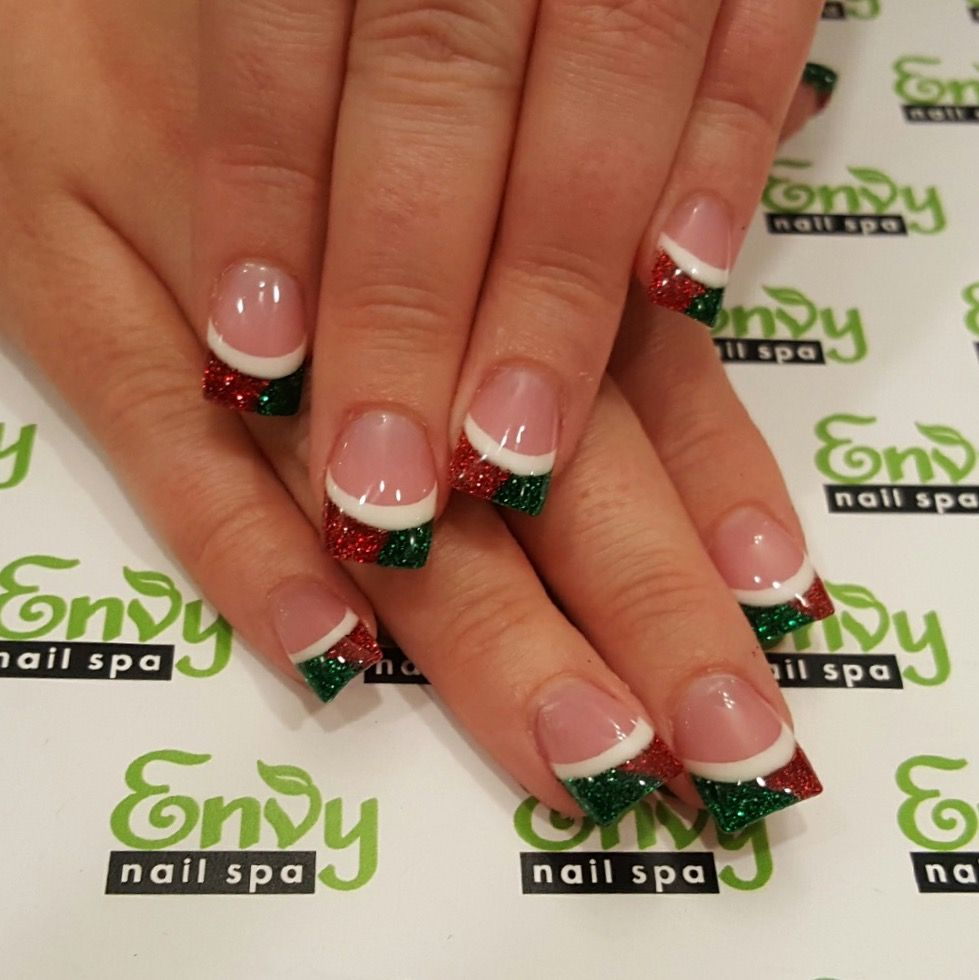 Christmas, Red, Green, White Glitter Nails , Envy Nail Spa